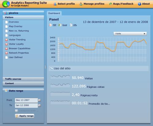 Captura de la pantalla principal de Analytics Reporting Suite