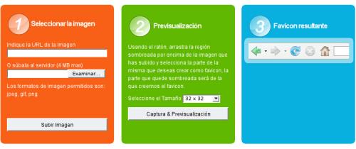 Captura pantalal de los 3 pasos requeridos para generar iconos
