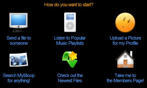 Panl de inicio deMyBloop.com
