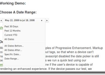 jQuery Interctive Date Picker - captura de pantalla del demo