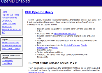 PHP OpenID Library - Captura de pantalla