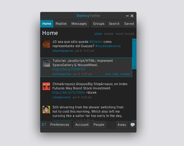 DestroyTwitter - Interfaz