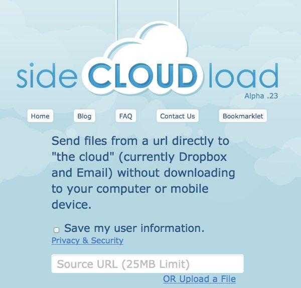 Side Cloud Load - enviar archivos a DropBox o al email