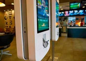 MOSCOW, RUSSIA - CIRCA MAY, 2018: ordering kiosks at McDonald's restaurant in Moscow.