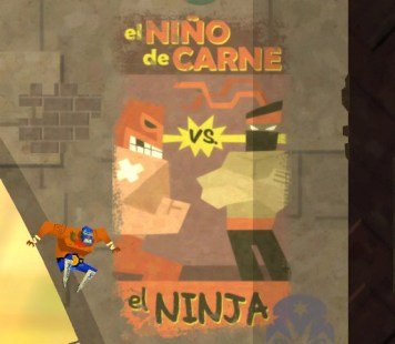 """""""El Niño de Carne vs. El Ninja"""". Hinweise auf """"Super Meat Boy"""" sind die rote Maske, das Pflaster und die typische Zahnlücke."""