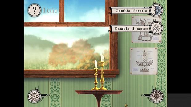 Screenshot della finestra con i menu per cambiare orario e meteo.
