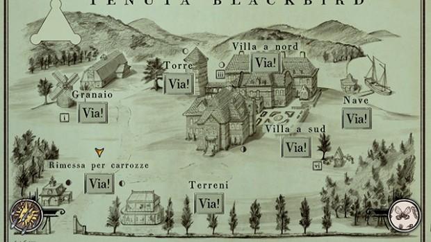 Screenshot della mappa disegnata che illustra la Tenuta protagonista di Spider: Rite Of The Shrouded Moon