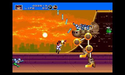 SEGA 3D Classics: Gunstar Heroes, protagonista che sparacchia verso l'alto, affrontando un nemico alto 10 volte lui.