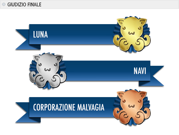 ANNO 2205 premi: Luna oro, navi argento, corporazione malvagia bronzo.