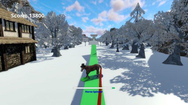 Trick col cavallo sulla rampa.