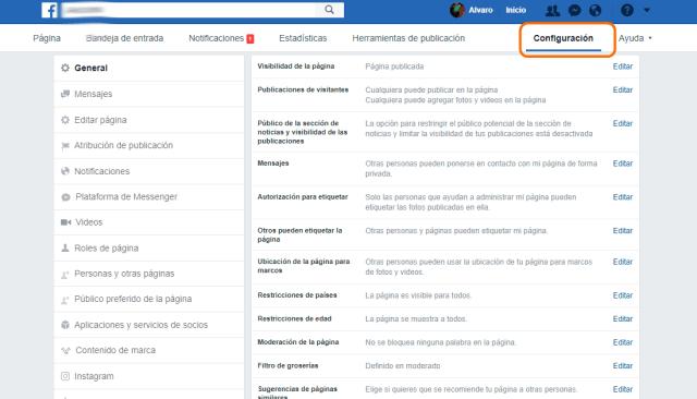 Configuración de tu página de Facebook