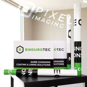 Custom-printed corrugated-plastic Coroplast signs, vinyl window decals, vinyl wall decals, and a hemmed and grommeted vinyl banner.