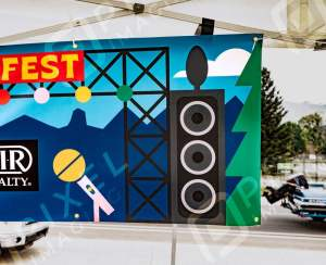 Banner Printing Calgary: A newly-printed vinyl banner displayed at the Cochrane Food Festival