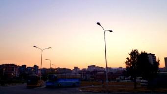 Kosovo, bus station in Pristina at sunrise. 2011.