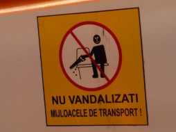 Sign in a bus in Constanta (Romania): Don't vandalize