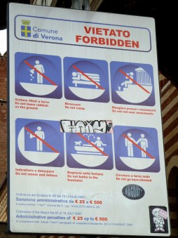 Everything that is forbidden in Verona (Italy)