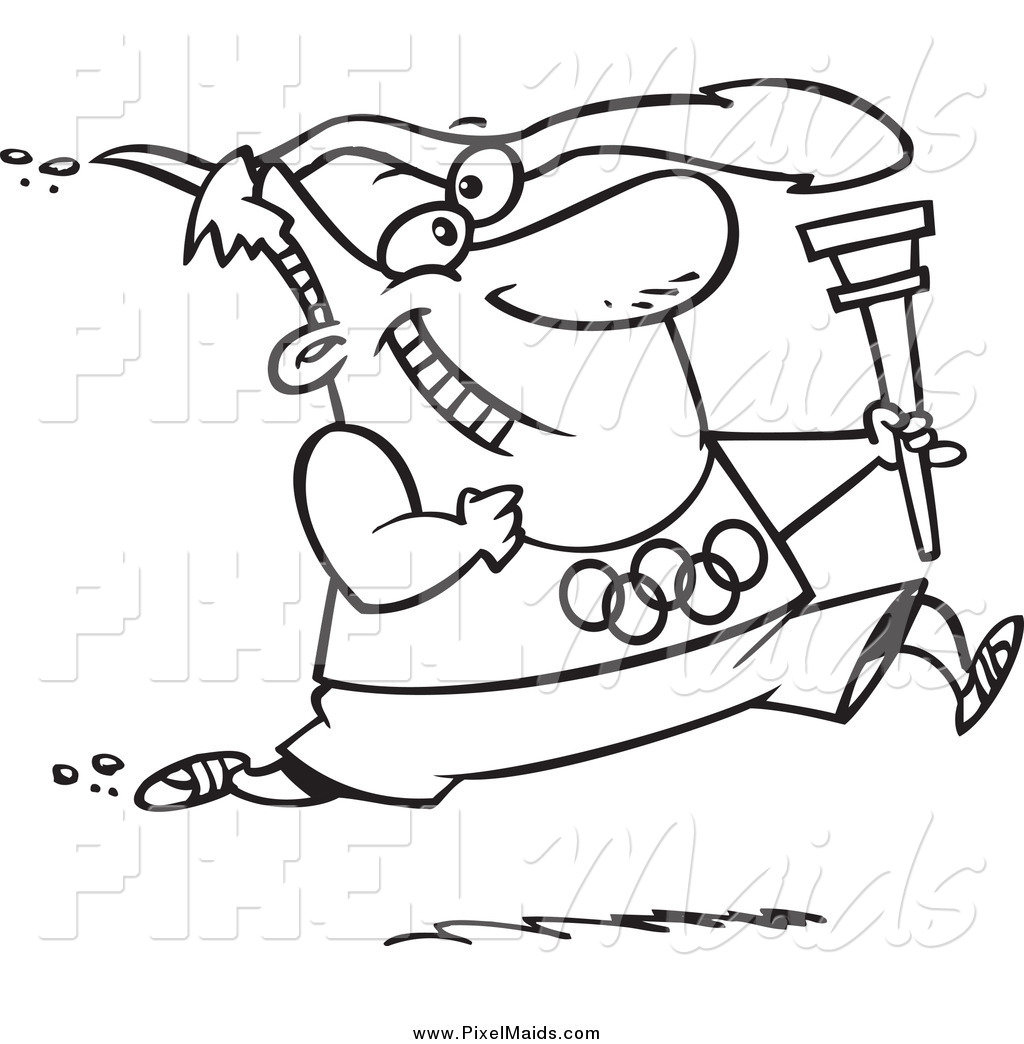 Clipart Of A Black And White Olympics Man Running With A