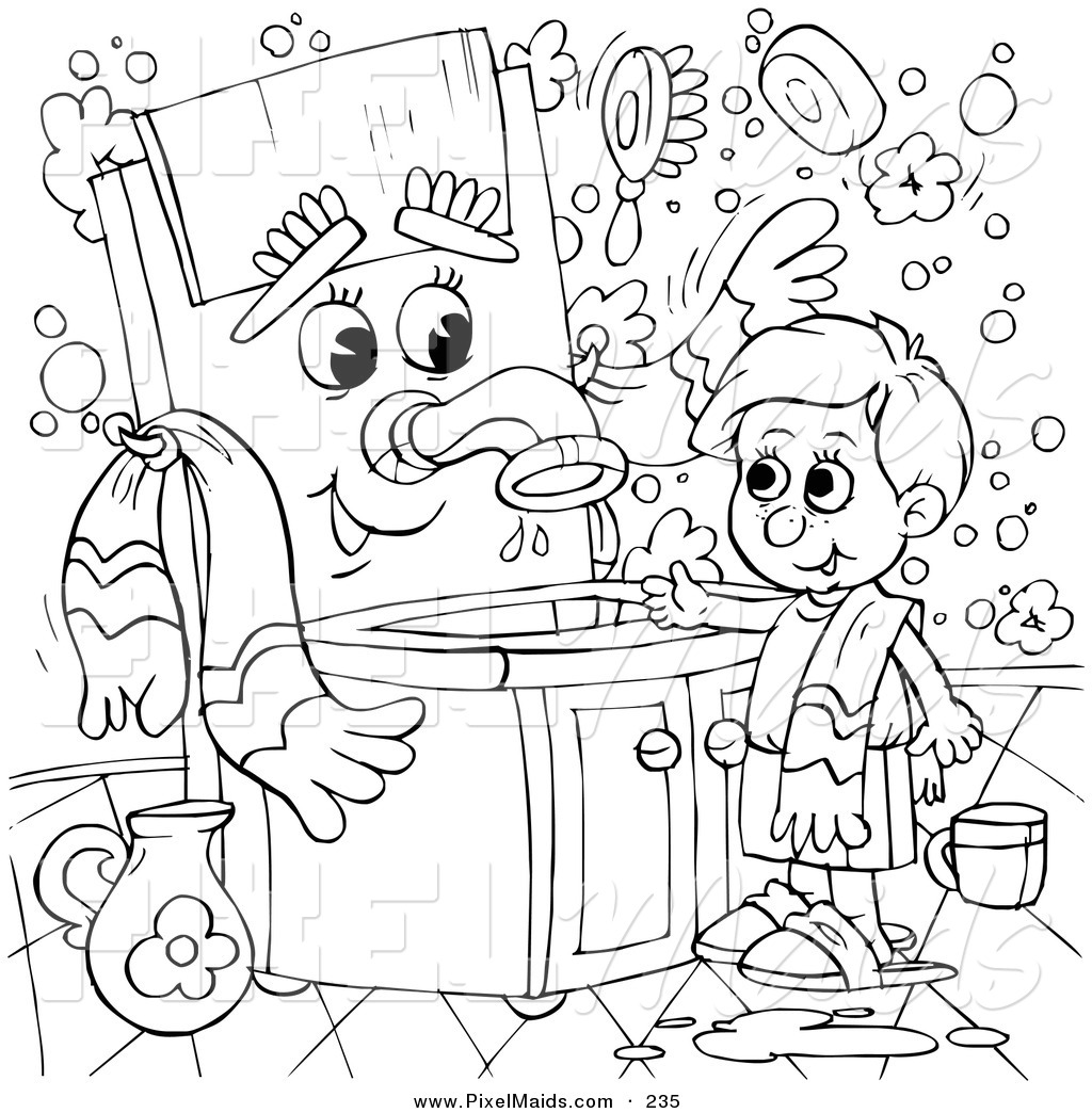 Clipart Of A Coloring Page Outline Design Of A Boy Talking