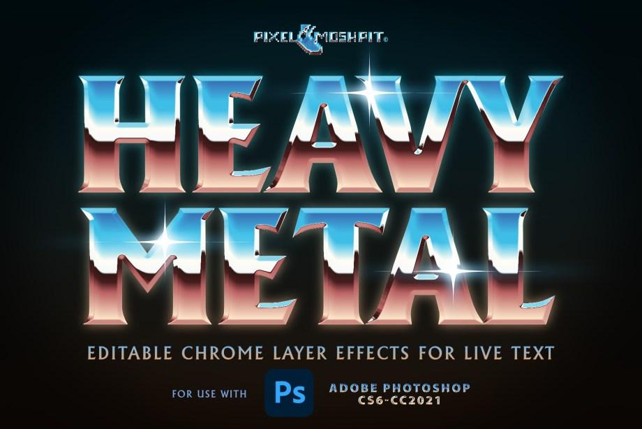 heavy metal chrome layers styles photoshop