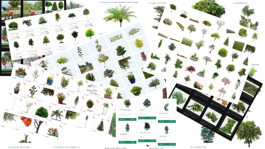 FREE CUT OUT TREE COLLECTION LINKS FOR 3D POST PRODUCTION