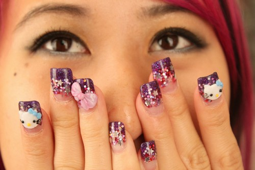 Awesome O Kitty Nail Art