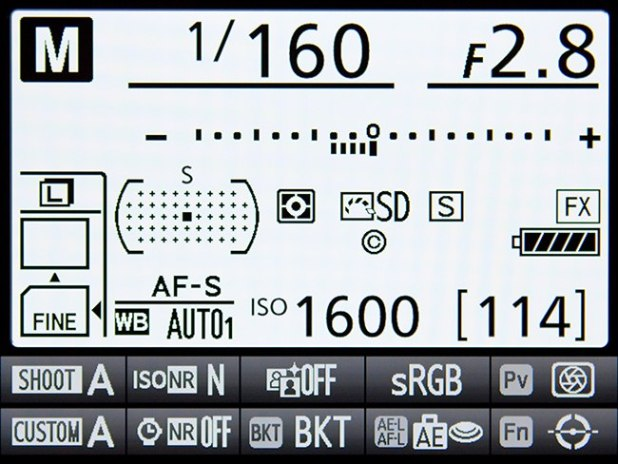 """The Information Display of the D810, accessed with the Info Button or i Button, and """"activated"""" with the i Button"""