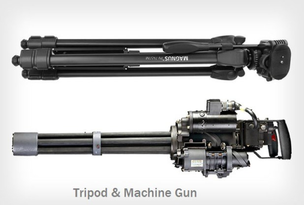 tripod gun photographer