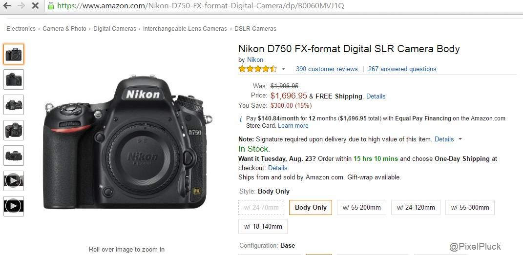 Nikon D750 Price Drops by $300