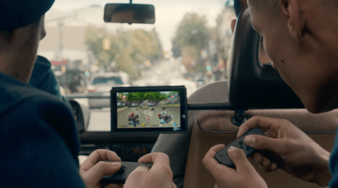 Playing split screen Mario Kart on the go.