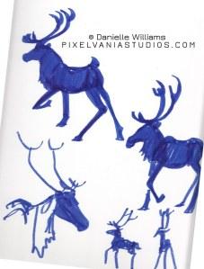 Reindeer sihouettes in blue marker