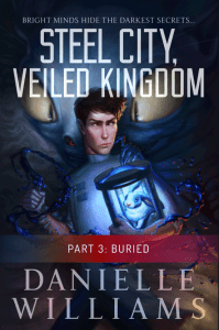 Cover for STEEL CITY, VEILED KINGDOM, PART 3 - A man in a labcoat holding a rabbit on a strange device, with a monster in the background. A red banner and some text near the bottom indicates that this is the third part.