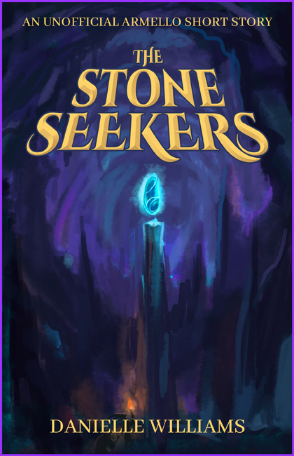 Stone Seekers cover: glowing Spirit Stone in a pointy purple cavern