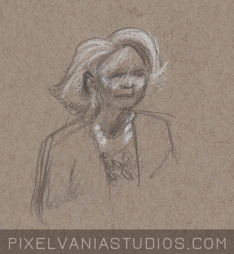 Pencil Sketch of a woman with swoopy white hair and a white necklace