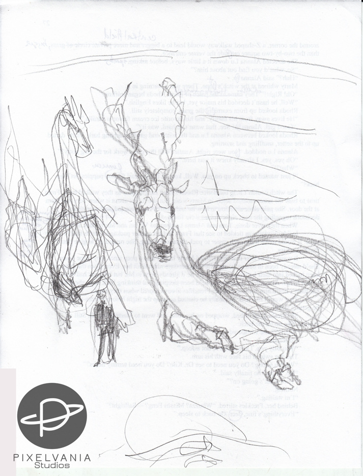 Rough sketch of two dragons and a nosferatu
