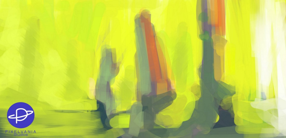Rocks against a lemon yellow background