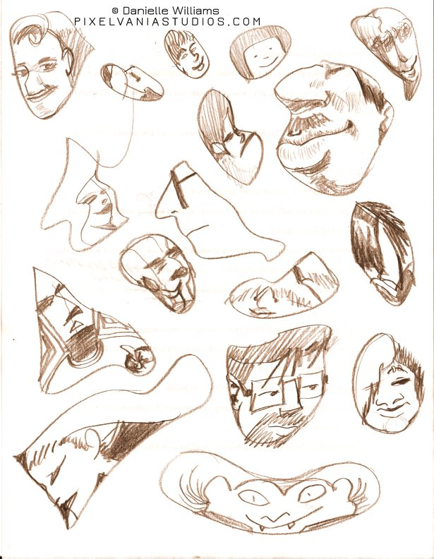 Pencil faces made of random shapes