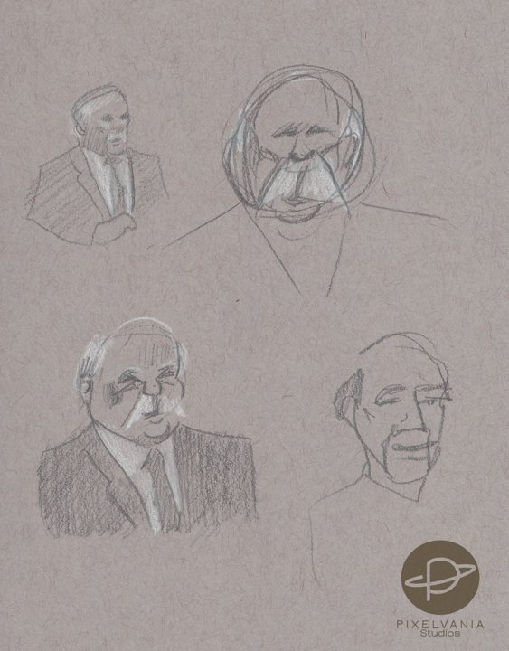 Moustache Man Portrait Charge/Caricature