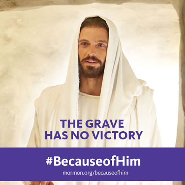 Portrayal of the resurrected Christ with the text The grave has no victory.