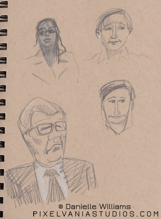 Sketches of folks from church. Two are wearing glasses