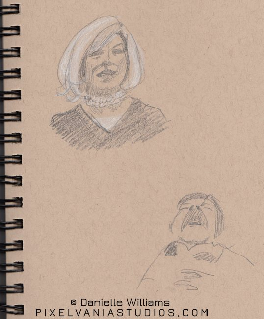 Church sketches - a fancy haired lady and a man snoozing