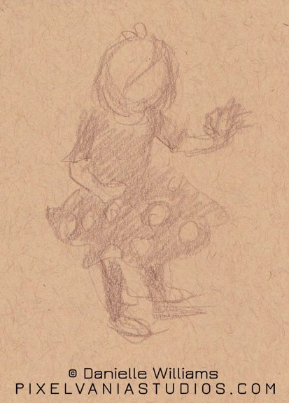 Quick gesture of a little girl in a polka dot dress