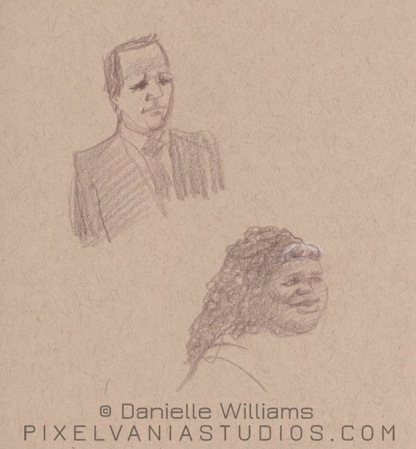 Church life drawings, two portraits