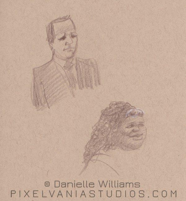 Church life drawings, two portraits