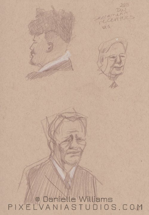 Life drawings - guy with awesome hair and a saddish man