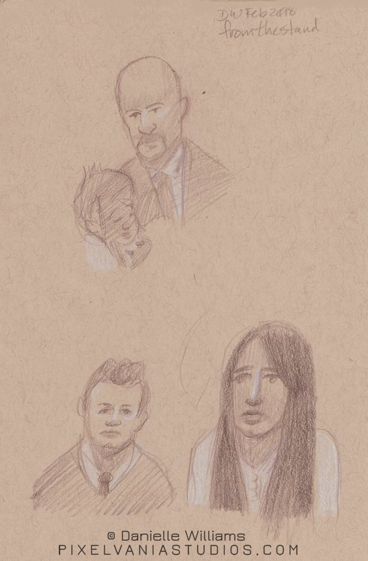 Life drawings of a man with a baby, and a couple