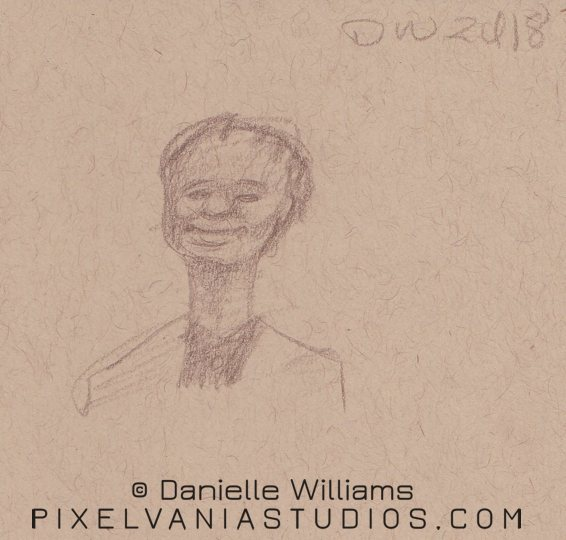 Pencil caricature of a black woman with a longish neck