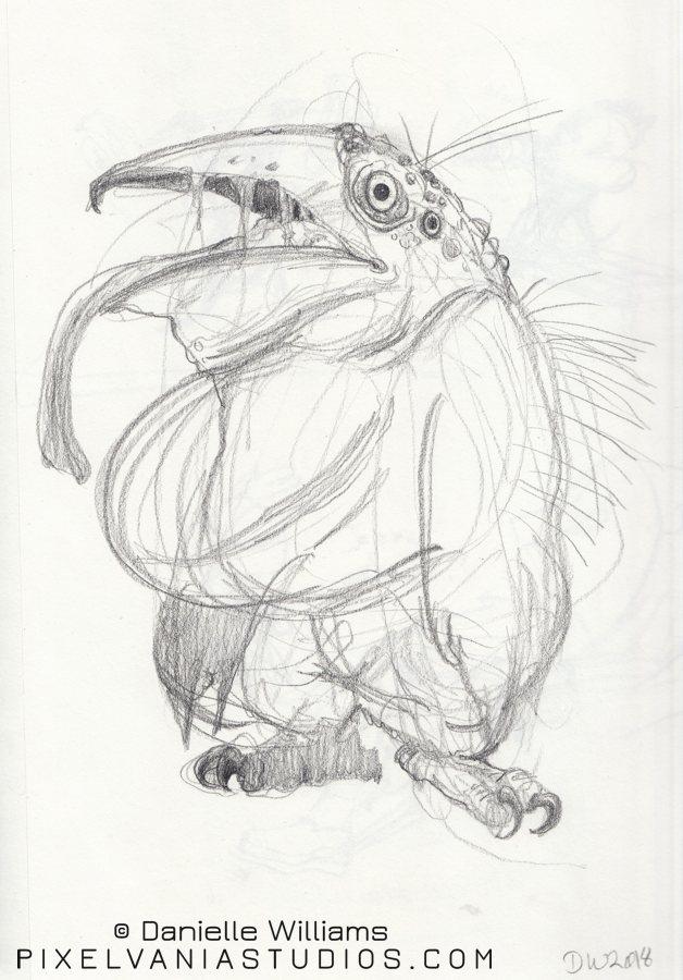 Weird monster penguin with owl feet