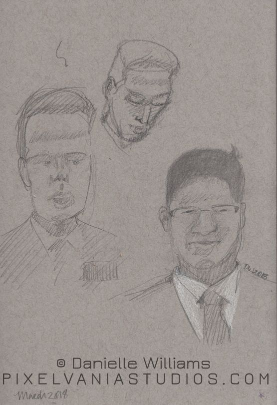 Quick portraits of the missionaries on toned paper