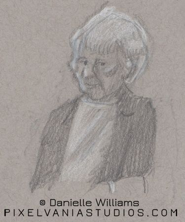 Pencil sketch on toned paper of a wise woman
