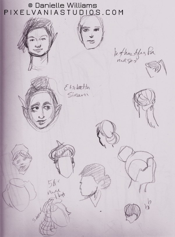 Women's faces and sketches of nurse's hairstyles